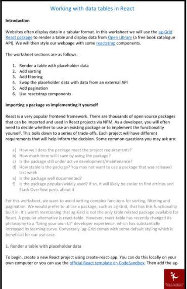 web application development assignment sample online