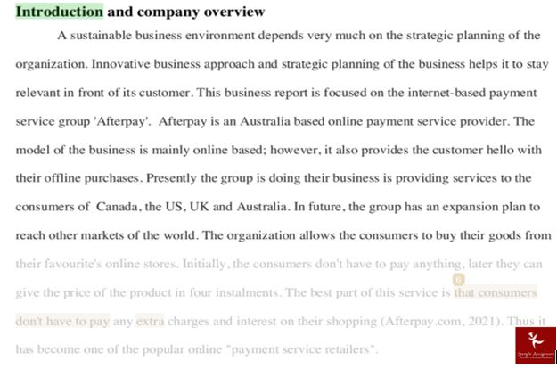 Afterpay Touch business model assignment question Answer