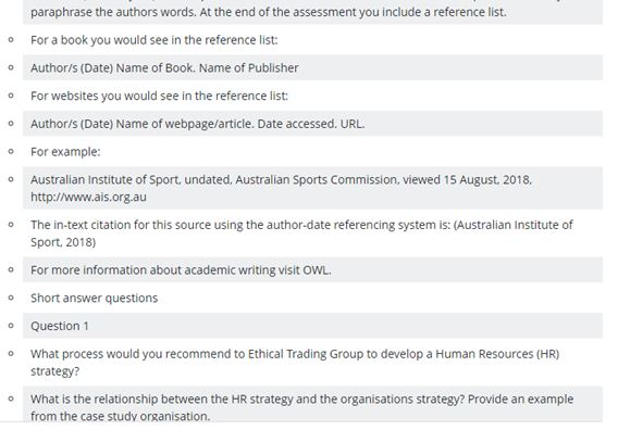 BSB50618 diploma of human resources management assignment question