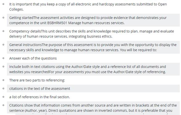 BSB50618 diploma of human resources management assignment