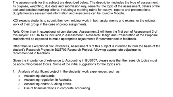 applied business research assignment example