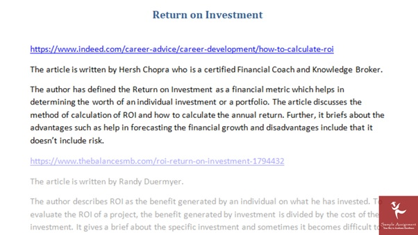 article return of investment