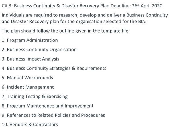 business continuity academic assistance through online tutoring question