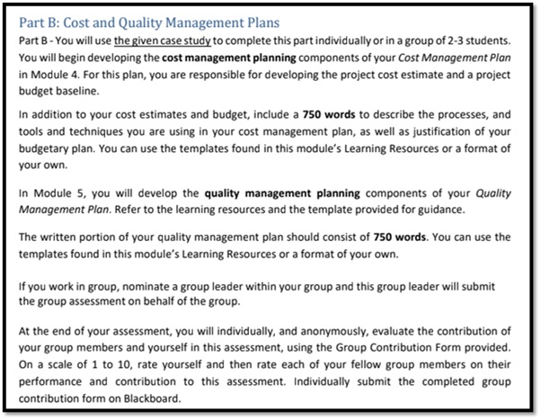 cost planning assignment question