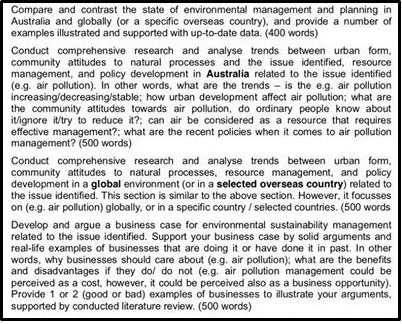 environmental planning assignment report