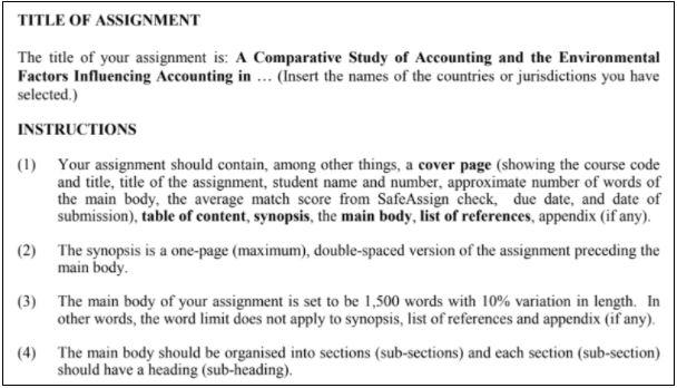 international accounting homework sample