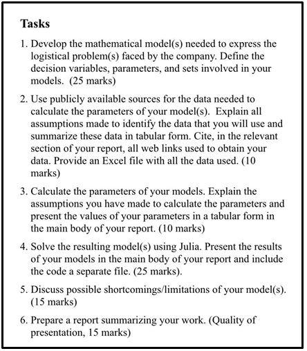logistics and transportation analytics coursework help tasks