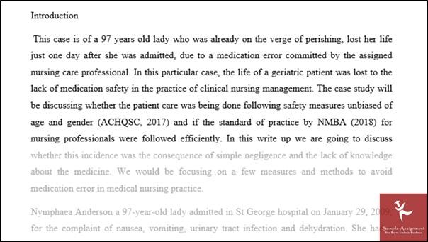 online ambulatory care nursing homework sample introduction