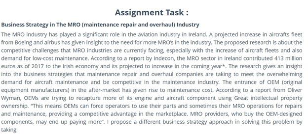 online diploma of aviation maintenance management mechanical sample task