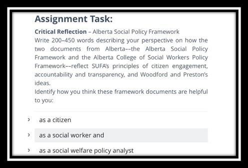 social work assignmentsample task