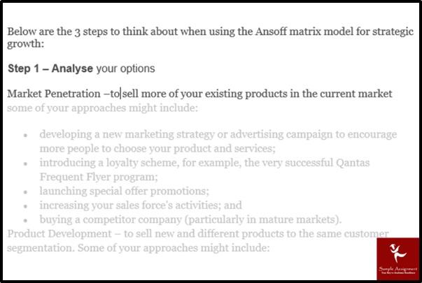 sustainable development ansoff matrix steps
