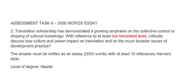 translation and interpreting studies assignment sample